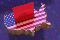 3D Illustration: USA Map with flag super-imposed stock illustration