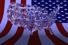 3D Illustration. USA map made from glass Stock Photo