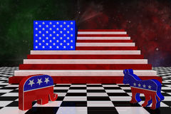 3D Illustration. USA map with USA flag superimposed Royalty Free Stock Photos