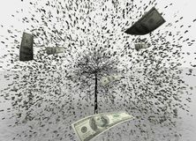 3D illustration of USD/Dollar rain white background, usd jumping from the tree. royalty free illustration