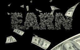 3D illustration of USD/Dollar rain black background earn text vector illustration