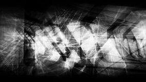 3d illustration useful as a screen wallpaper. Abstract black and white artistic digital background, high-tech cg concept with chaotic polygonal structures and Vector Illustration