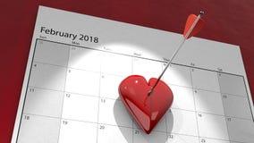 Valentine`s Day Heart pinned to Calendar. A 3D illustration of a valentine`s day heart pinned to a February 2018 calendar by an arrow Stock Photos
