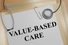 Value-Based Care concept. 3D illustration of VALUE-BASED CARE title on a medical document royalty free illustration