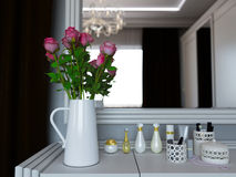 3D illustration of a vase with roses on a cosmetic little table Royalty Free Stock Photos