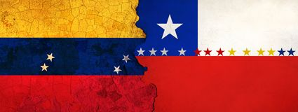 3D Illustration for Venezuelan migrants fleeing to Chile as economic and political crisis worsens. 3D Illustration of Venezuela and Chile flags on a rough and stock illustration