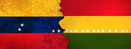 3D Illustration for Venezuelan migrants fleeing to Bolivia as economic and political crisis worsens. 3D Illustration of Venezuela and Bolivia flags on a rough stock illustration
