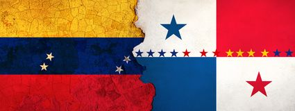 3D Illustration for Venezuelan migrants fleeing to Panama as economic and political crisis worsens. 3D Illustration of Venezuela and Panama flags on a rough and stock illustration
