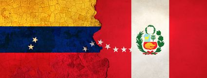 3D Illustration for Venezuelan migrants fleeing to Peru as economic and political crisis worsens. 3D Illustration of Venezuela and Peru flags on a rough and vector illustration