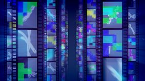 Cheery Film Tapes in Blue Background. 3d illustration of vertical film tapes dazzling brilliantly with hilarious and colorful pictures, mazes, zigzag lines and stock illustration