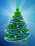 3d vibrant Christmas tree over blue Royalty Free Stock Images