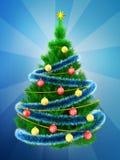 3d vibrant Christmas tree over blue Stock Photos