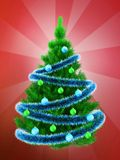 3d vibrant Christmas tree over red Stock Image