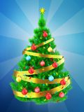 3d vibrant Christmas tree over blue. 3d illustration of vibrant Christmas tree with golden ribbon over blue background Stock Photo