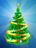 3d vibrant Christmas tree over blue Royalty Free Stock Photography