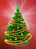 3d vibrant Christmas tree over red Stock Photos