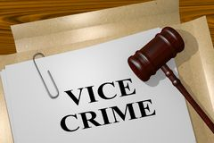 VICE CRIME concept. 3D illustration of VICE CRIME title on legal document Royalty Free Stock Image