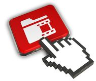 Video Folder Icon. 3D illustration of Video Folder Icon - Hand Cursor Click Royalty Free Stock Image