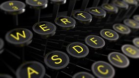 3d illustration: Vintage typewriter keys with yellow letters close-up, focus in the center, blur at the edges. Writer`s concept of royalty free illustration