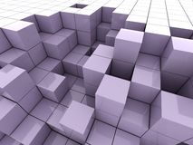 3d illustration of violet cubes Royalty Free Stock Photo