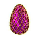 3d illustration violet purple egg with golden greed decoratio. 3d illustration violet purple egg with golden greed easter decoration isolated on white background Stock Photos