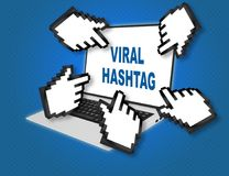 VIRAL HASHTAG concept. 3D illustration of VIRAL HASHTAG script with pointing hand icons pointing at the laptop screen from all sides Stock Photos