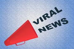 VIRAL NEWS concept. 3D illustration of VIRAL NEWS title flowing from a loudspeaker Stock Photo
