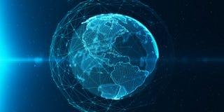 Ð¡ommunication digital globe world vector illustration