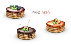 3d Illustration von Pfannkuchen mit Sirupen, lokalisiertes Weiß Lizenzfreies Stockfoto