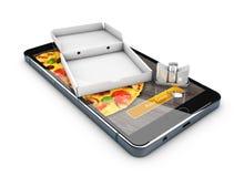 3d Illustration von Smartphone mit Pizza des Kastens, on-line-Lebensmittel-Lieferung Stockbilder