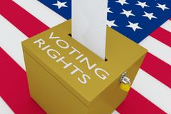 VOTING RIGHTS concept. 3D illustration of VOTING RIGHTS script on a ballot box, with US flag as a background Royalty Free Stock Image