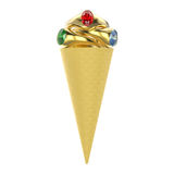 3D illustration  waffle ice cream with three gold rings Royalty Free Stock Image