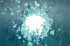 3D illustration wall of ice with a hole in the center of shatters into small pieces. Place for your banner. Advertisement. The explosion caused a crack in the stock images