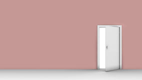 3d illustration of wall with opened door. Background  of wall with opened door Royalty Free Stock Photos