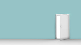 3d illustration of wall with opened door. Background of wall with opened door Stock Photo