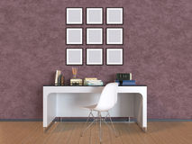 3D illustration a wall with pictures, a table and a chair Stock Photo