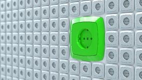 Wall power plug sockets with big green ac power socket Royalty Free Stock Photos