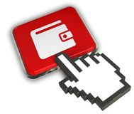 Wallet Icon. 3D illustration of Wallet Icon- Hand Cursor Click Royalty Free Stock Photos