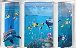 3d illustration wallpaper under sea dolphin, Fish, Tortoise, Coral reef sand water with white columns  background. will visually e