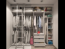 3D illustration of the wardrobe room in light tones. Render with Royalty Free Stock Image