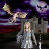 3D illustration of the warrior princess dragon slayer Royalty Free Stock Images
