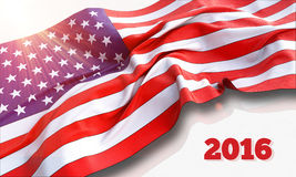 3d illustration of waving American Flag. On white background Royalty Free Stock Photo