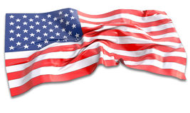 3d illustration of waving American Flag. On white background Royalty Free Stock Photos