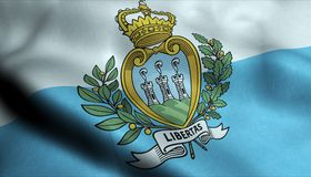 San Marino Waving Flag in 3D. 3D Illustration of a waving flag of San Marino stock illustration