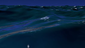 3D illustration of wavy sea water surface with night sky