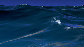3D illustration of wavy water surface. With night sky Royalty Free Stock Photos
