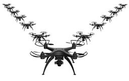 3d illustration of a wedge of drones on a white background. Isolated Stock Photography
