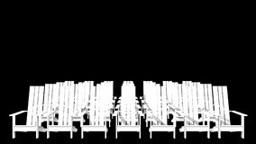 White Adirondack chairs. 3D illustration white Adirondack chairs Royalty Free Illustration