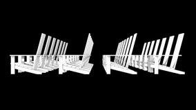 White Adirondack chairs. 3D illustration white Adirondack chairs Stock Image