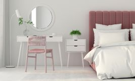 Bedroom interior with a pink bed Royalty Free Stock Images